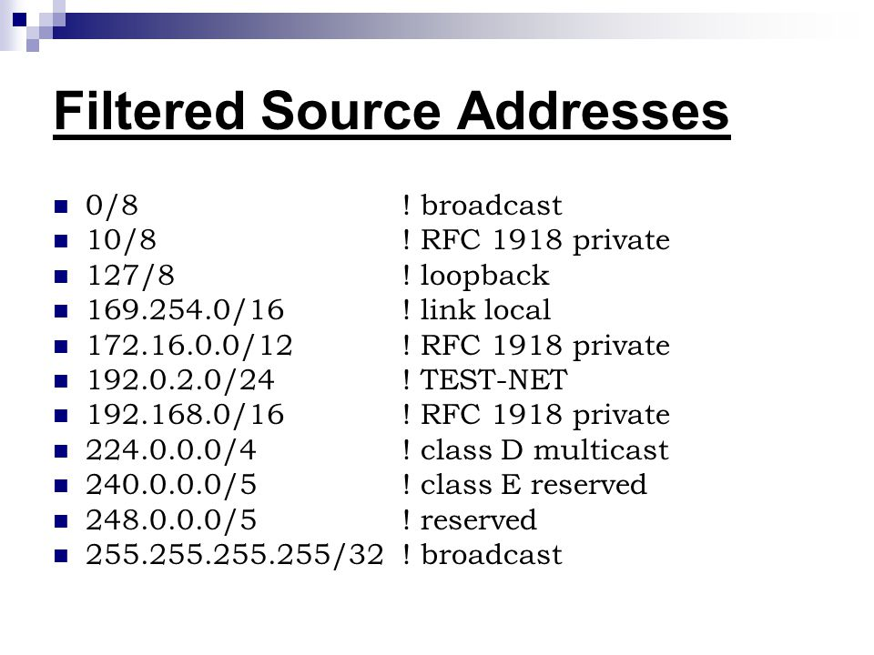 Filtered Source Addresses