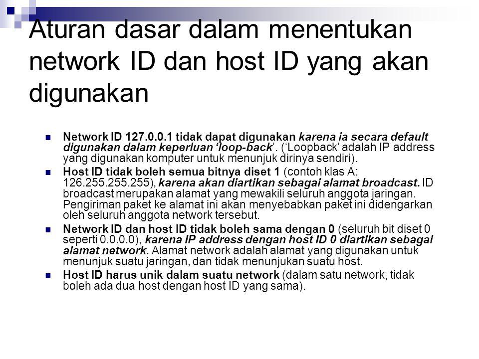 Aturan dasar dalam menentukan network ID dan host ID yang akan digunakan
