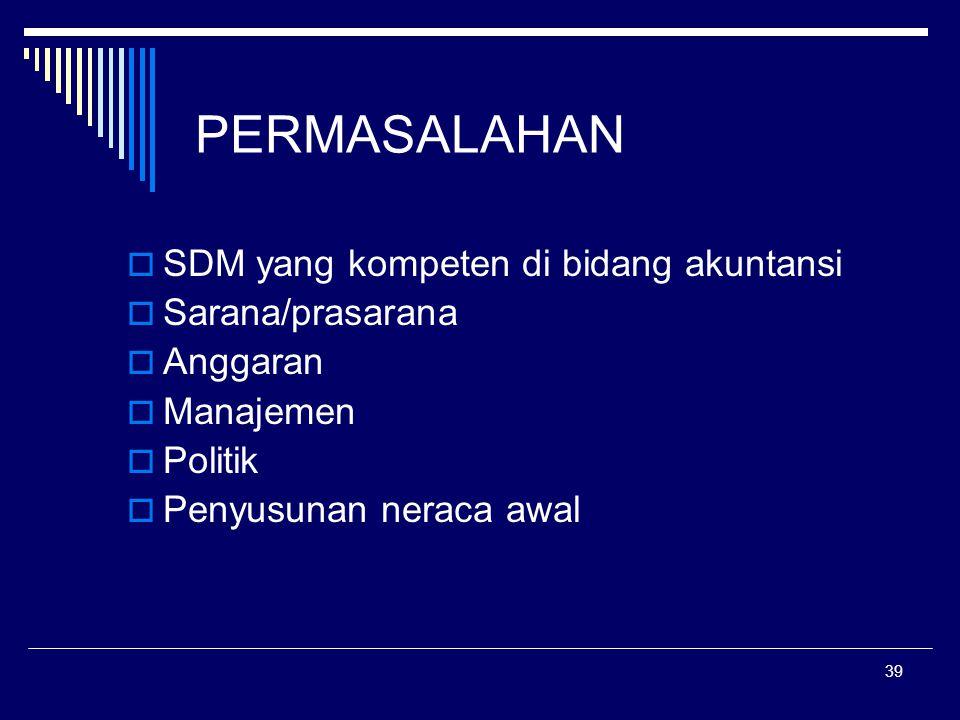 PERMASALAHAN SDM yang kompeten di bidang akuntansi Sarana/prasarana