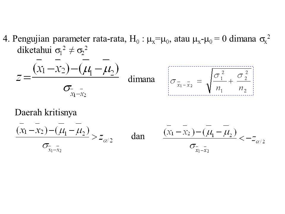 4. Pengujian parameter rata-rata, H0 : x=0, atau x-0 = 0 dimana x2 diketahui 12 ≠ 22