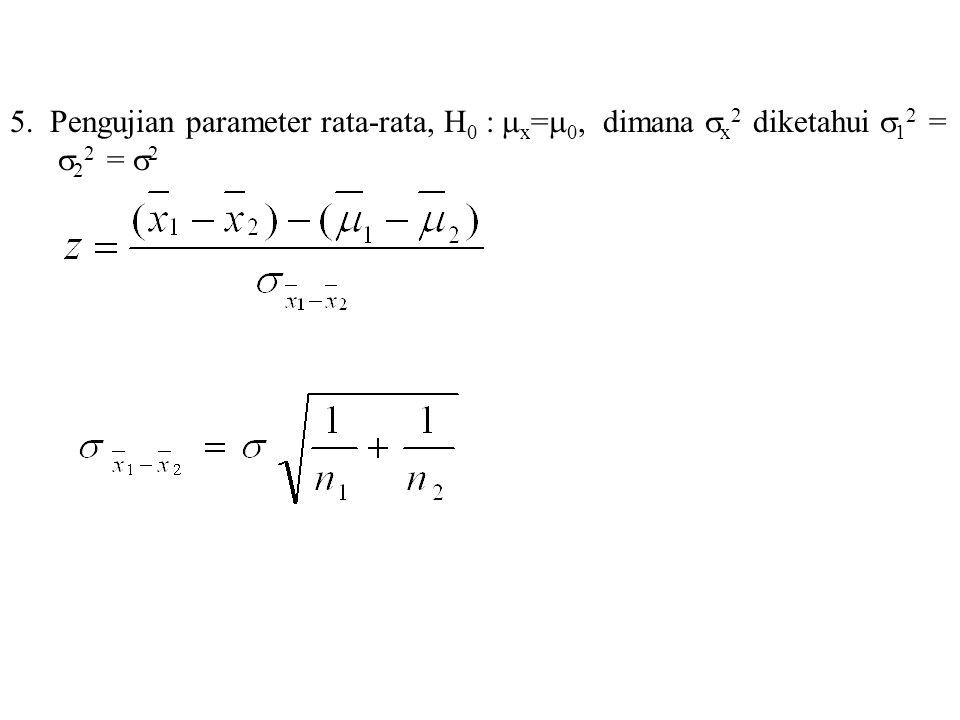 5. Pengujian parameter rata-rata, H0 : x=0, dimana x2 diketahui 12 = 22 = 2