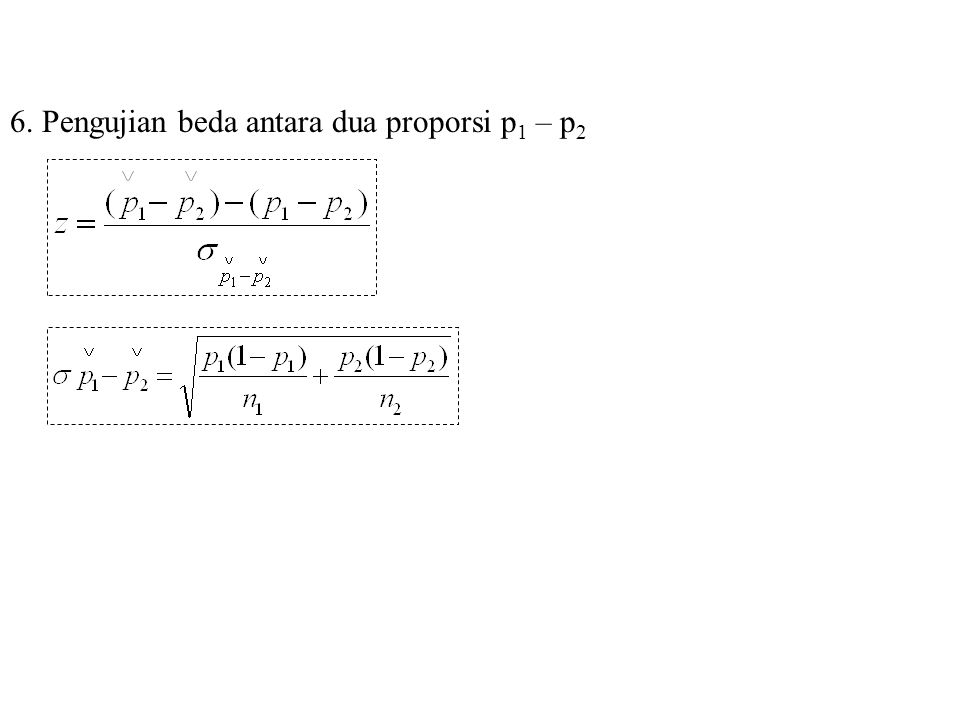 6. Pengujian beda antara dua proporsi p1 – p2