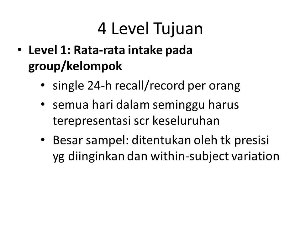 4 Level Tujuan Level 1: Rata-rata intake pada group/kelompok