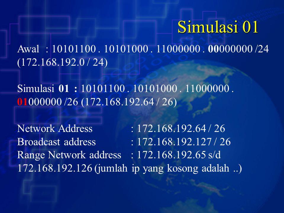 Simulasi 01 Awal : 10101100 . 10101000 . 11000000 . 00000000 /24 (172.168.192.0 / 24)
