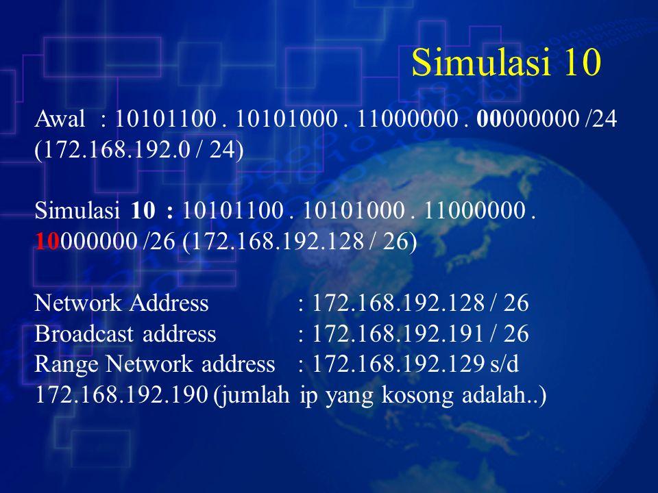 Simulasi 10 Awal : 10101100 . 10101000 . 11000000 . 00000000 /24 (172.168.192.0 / 24)