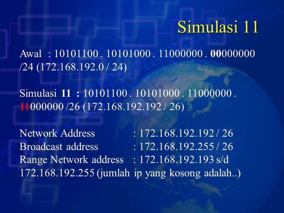 Simulasi 11 Awal : 10101100 . 10101000 . 11000000 . 00000000 /24 (172.168.192.0 / 24)