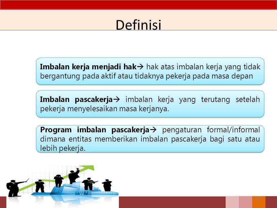 Definisi Imbalan kerja menjadi hak hak atas imbalan kerja yang tidak bergantung pada aktif atau tidaknya pekerja pada masa depan.