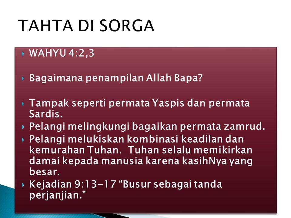 TAHTA DI SORGA WAHYU 4:2,3 Bagaimana penampilan Allah Bapa