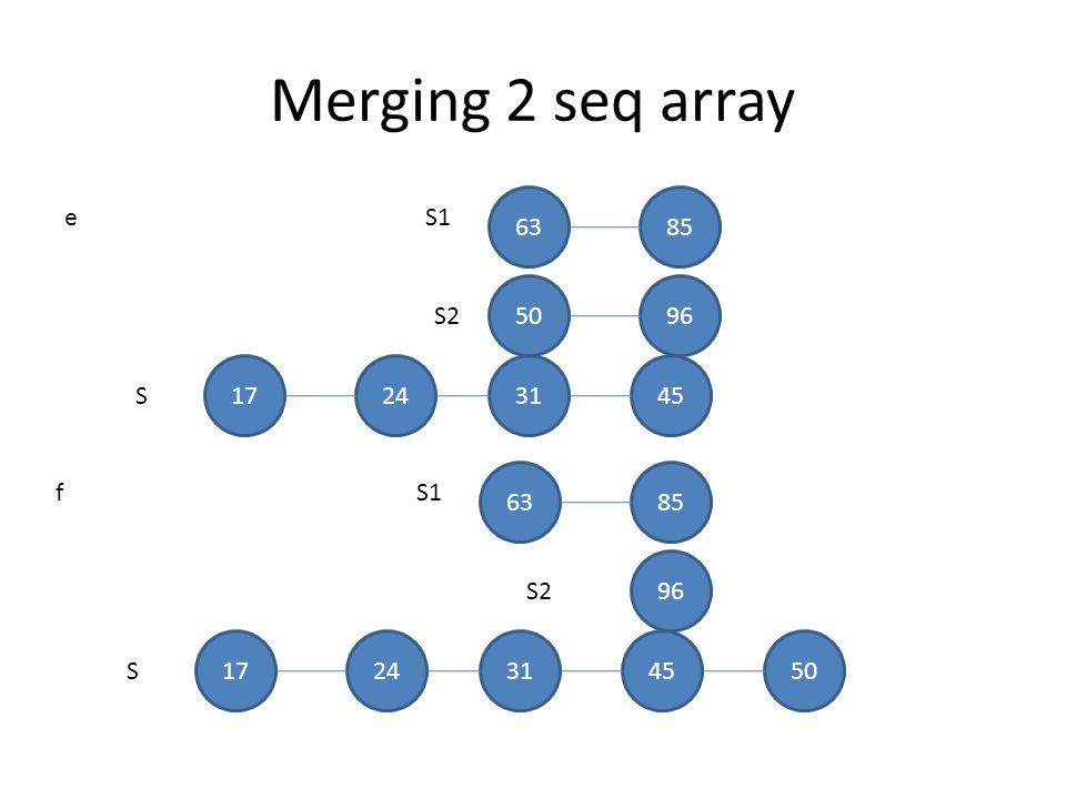 Merging 2 seq array 63 85 e S1 50 96 S2 17 24 31 45 S 63 85 f S1 96 S2