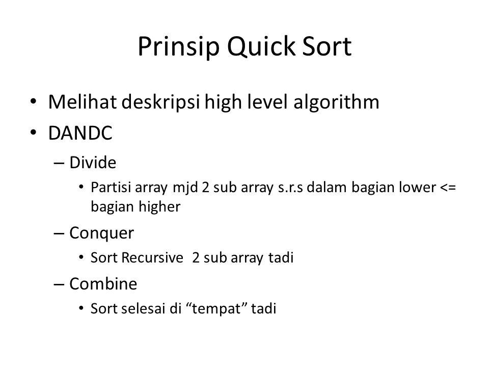 Prinsip Quick Sort Melihat deskripsi high level algorithm DANDC Divide