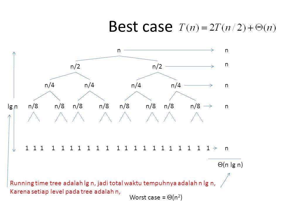 Best case n n/2 n/4 lg n n/8 1 (n lg n)