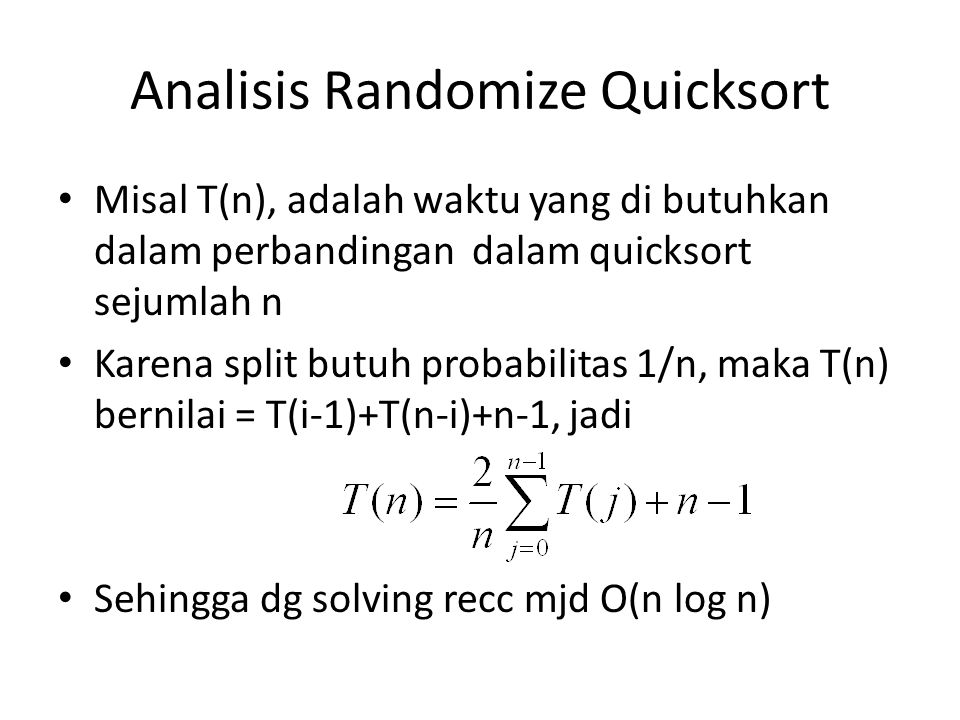 Analisis Randomize Quicksort