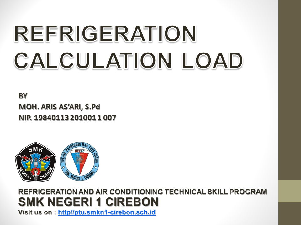 REFRIGERATION CALCULATION LOAD