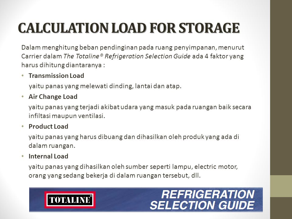 CALCULATION LOAD FOR STORAGE
