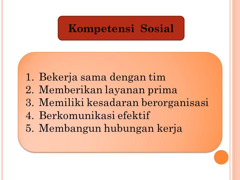 Kompetensi Sosial Bekerja sama dengan tim. Memberikan layanan prima. Memiliki kesadaran berorganisasi.
