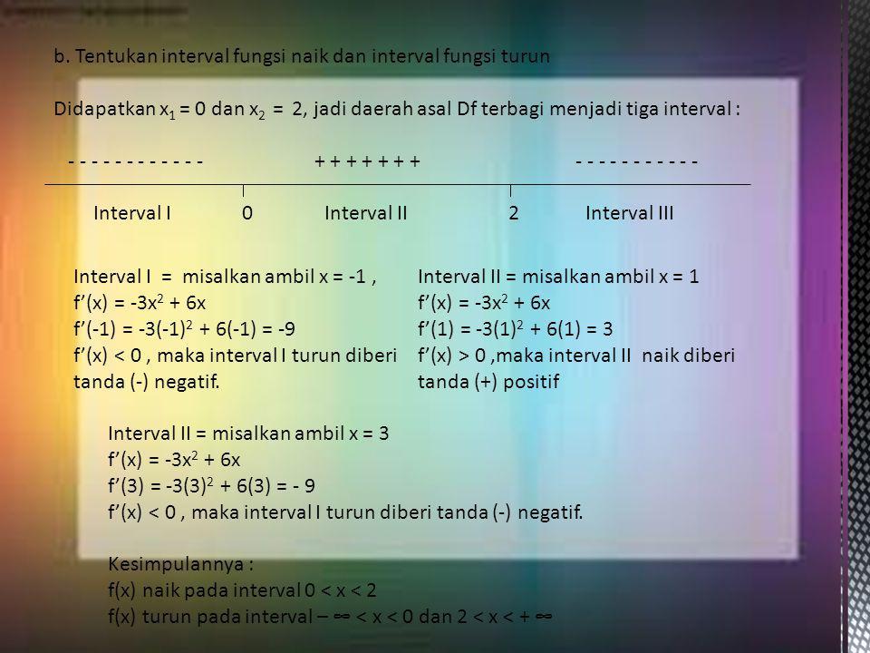 b. Tentukan interval fungsi naik dan interval fungsi turun