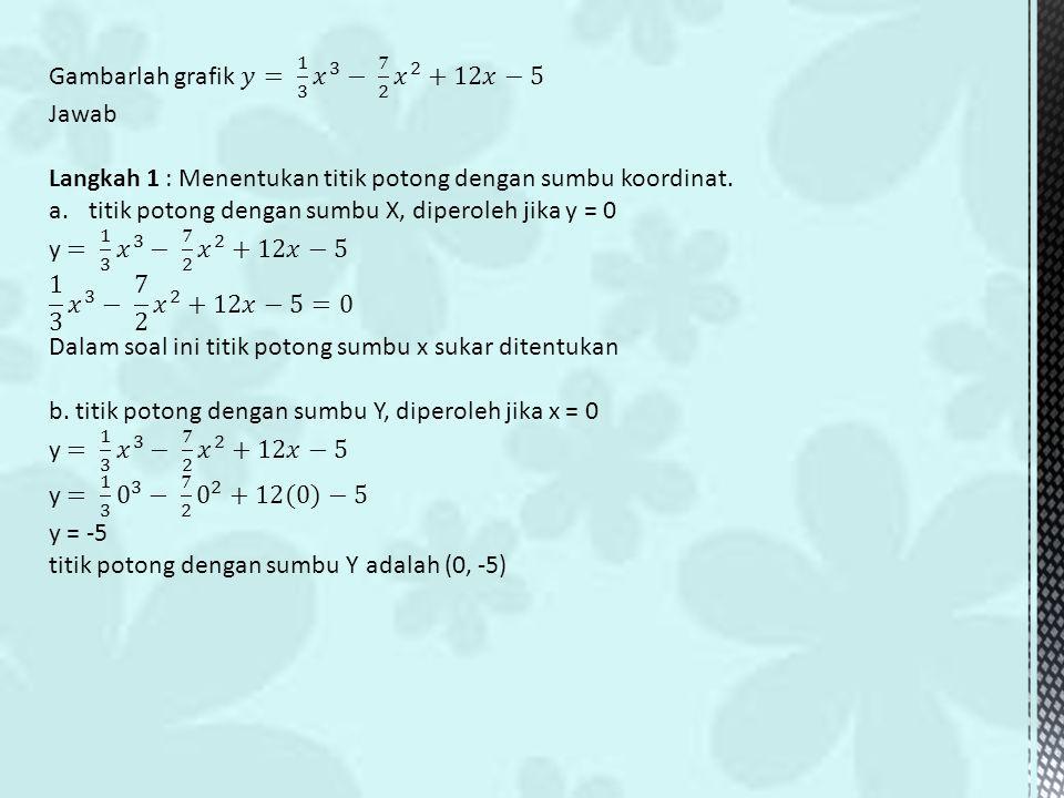 Gambarlah grafik 𝑦= 1 3 𝑥 3 − 7 2 𝑥 2 +12𝑥−5