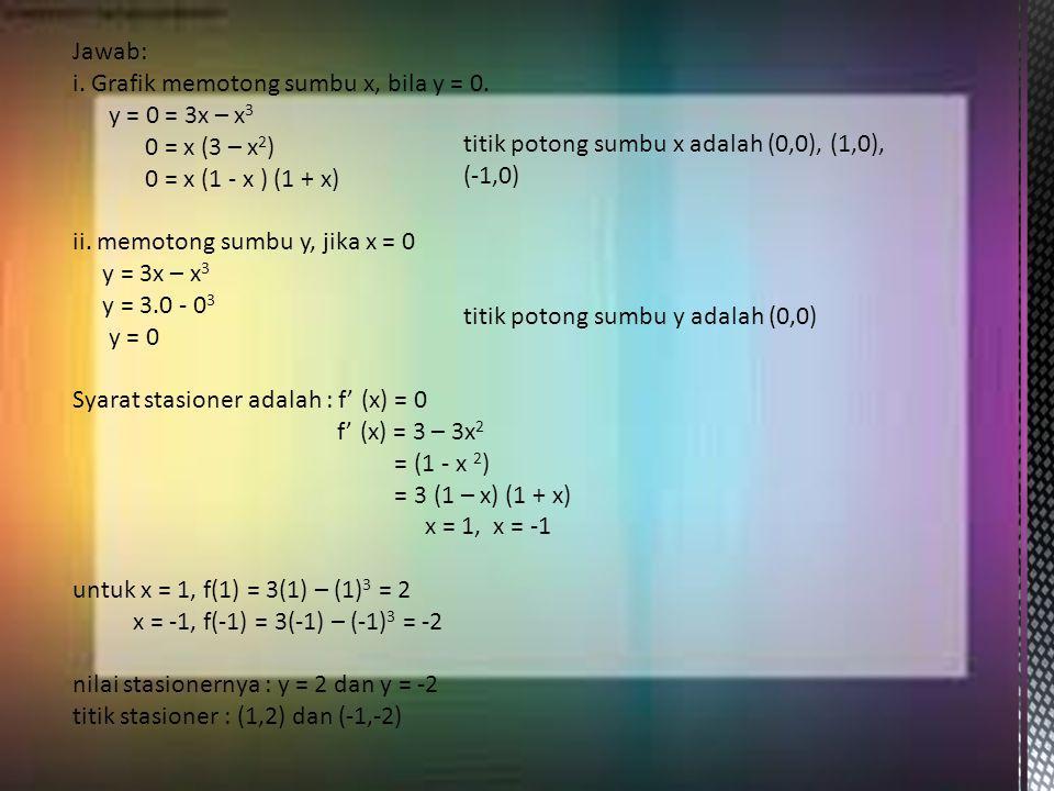 Jawab: i. Grafik memotong sumbu x, bila y = 0. y = 0 = 3x – x3. 0 = x (3 – x2) 0 = x (1 - x ) (1 + x)