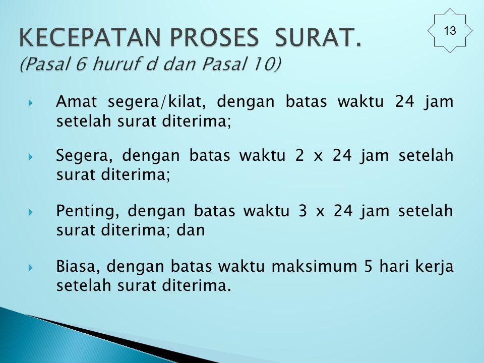 KECEPATAN PROSES SURAT. (Pasal 6 huruf d dan Pasal 10)