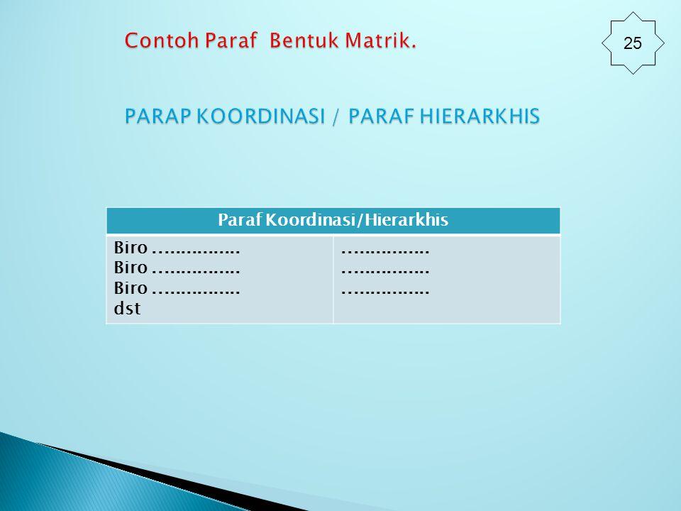 Contoh Paraf Bentuk Matrik. PARAP KOORDINASI / PARAF HIERARKHIS