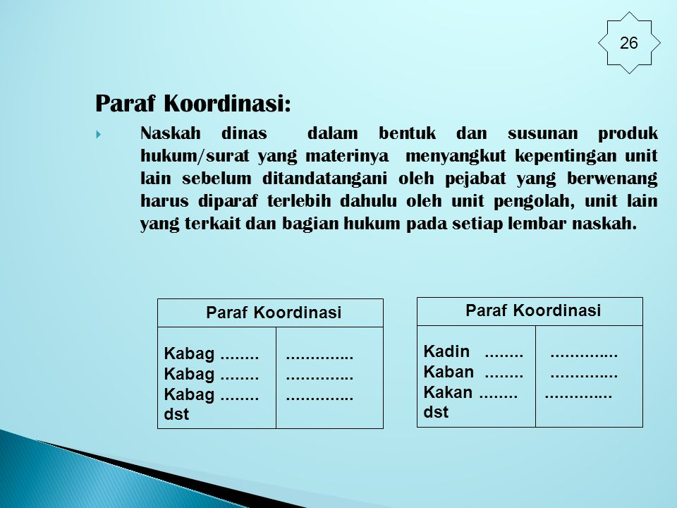 26 Paraf Koordinasi: