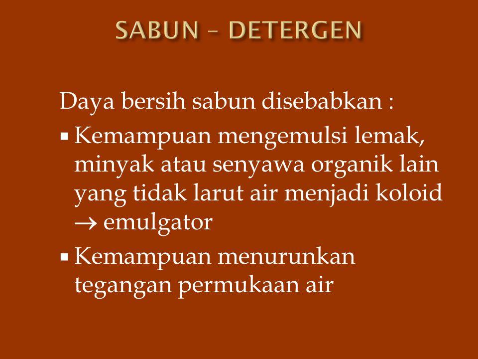 SABUN – DETERGEN Daya bersih sabun disebabkan :