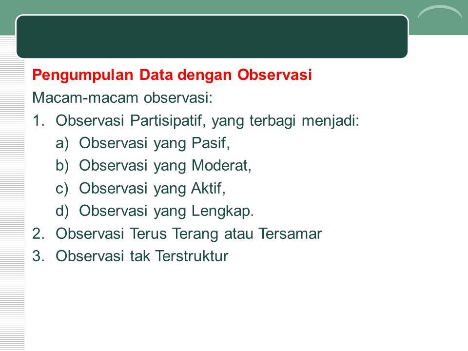 Pengumpulan Data dengan Observasi
