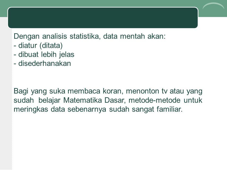 Dengan analisis statistika, data mentah akan: