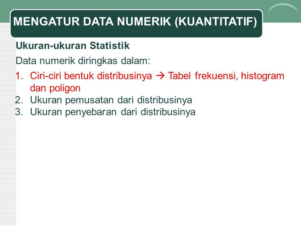 MENGATUR DATA NUMERIK (KUANTITATIF)