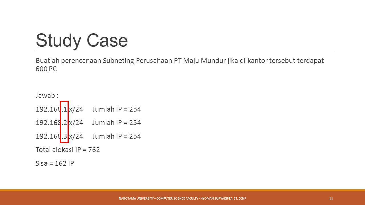 Study Case Buatlah perencanaan Subneting Perusahaan PT Maju Mundur jika di kantor tersebut terdapat 600 PC.