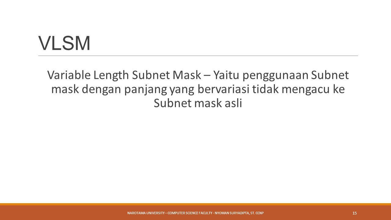 VLSM Variable Length Subnet Mask – Yaitu penggunaan Subnet mask dengan panjang yang bervariasi tidak mengacu ke Subnet mask asli.