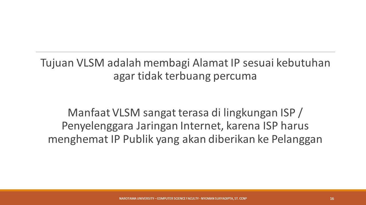 Tujuan VLSM adalah membagi Alamat IP sesuai kebutuhan agar tidak terbuang percuma