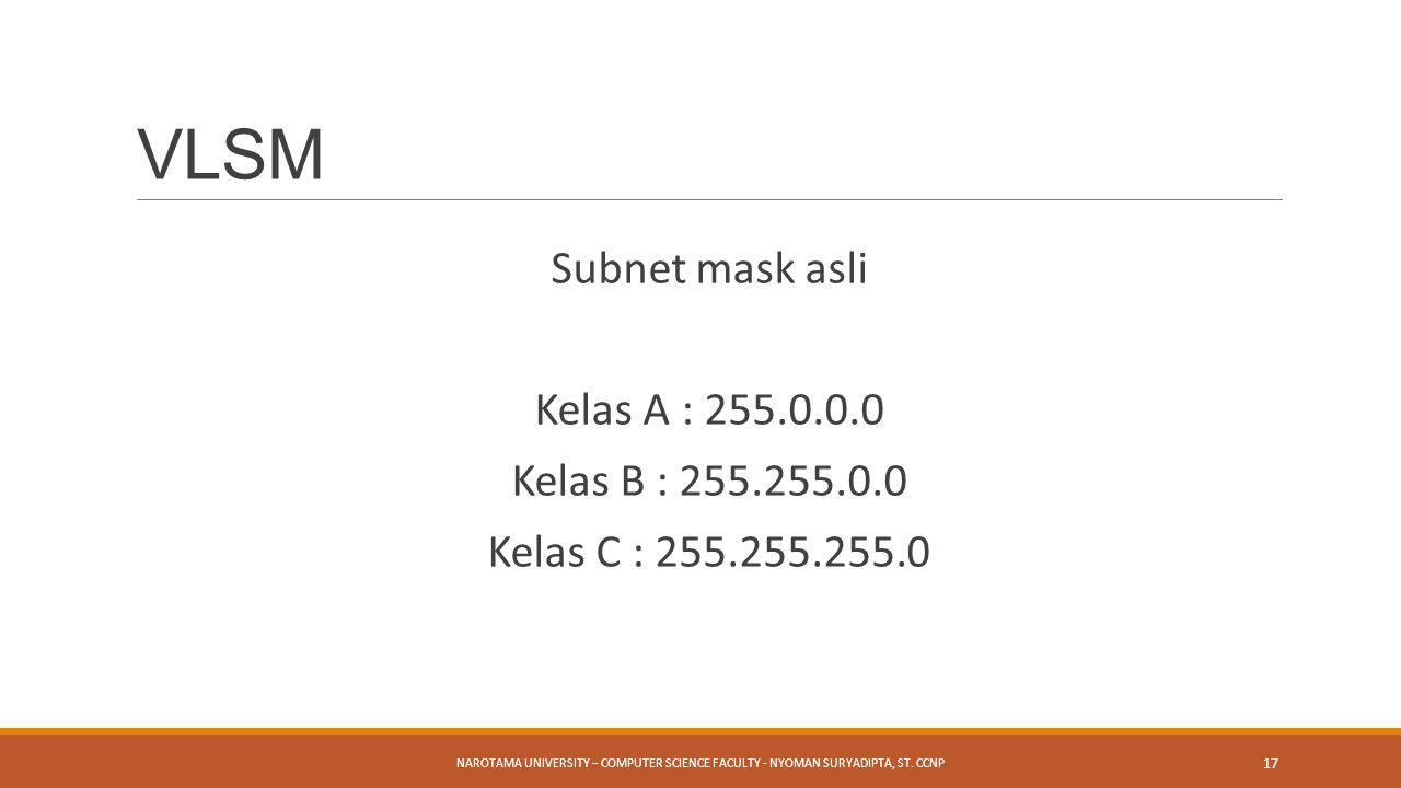 VLSM Subnet mask asli Kelas A : 255.0.0.0 Kelas B : 255.255.0.0