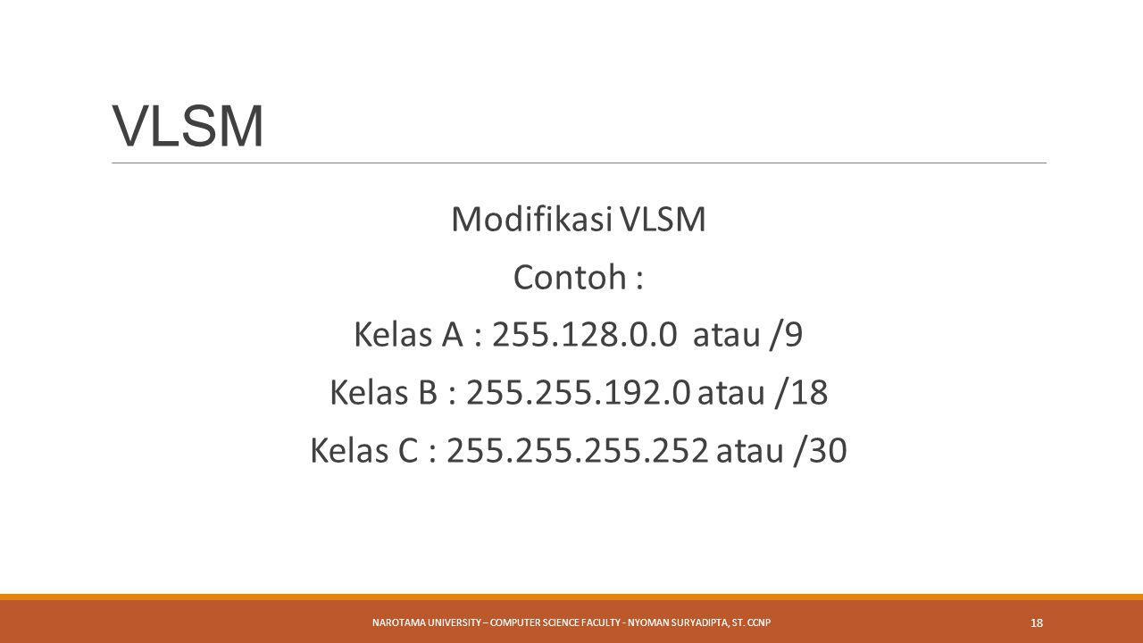 VLSM Modifikasi VLSM Contoh : Kelas A : 255.128.0.0 atau /9