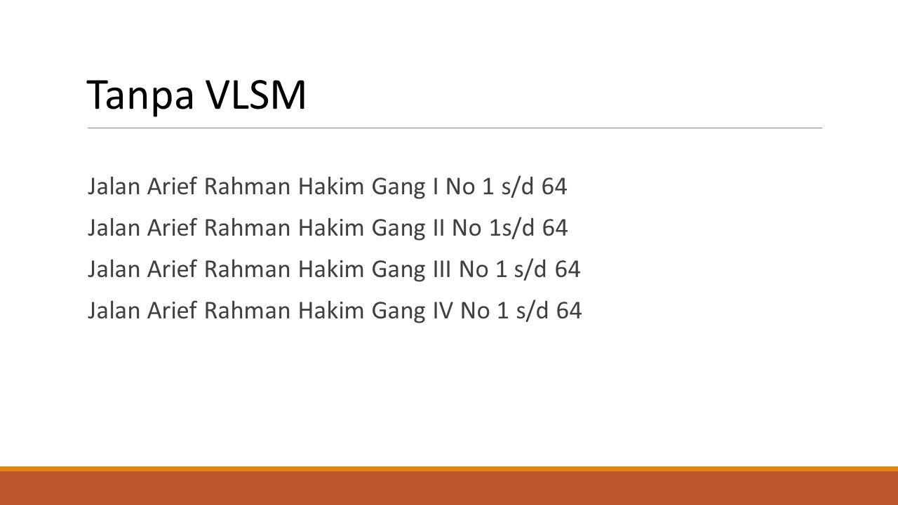 Tanpa VLSM Jalan Arief Rahman Hakim Gang I No 1 s/d 64