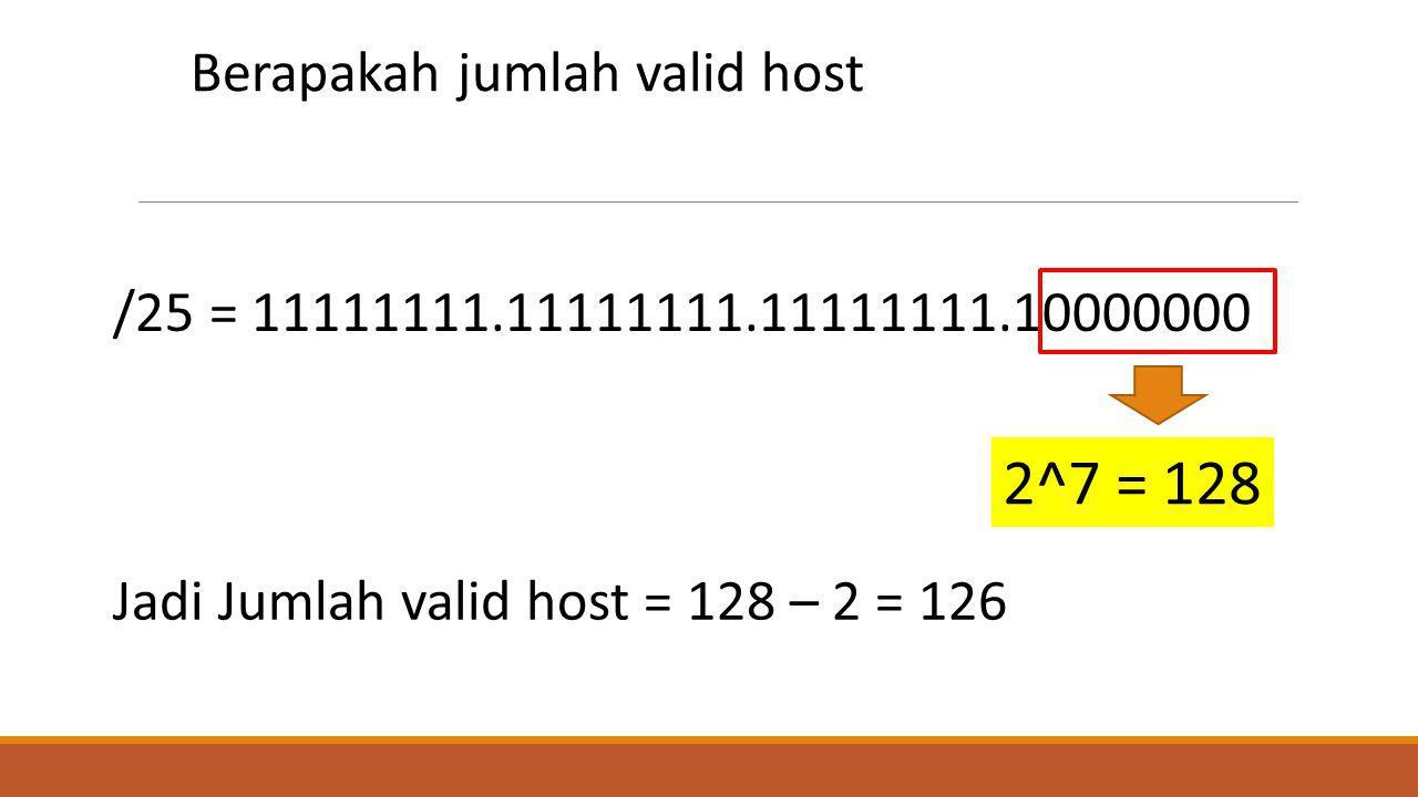 2^7 = 128 Berapakah jumlah valid host