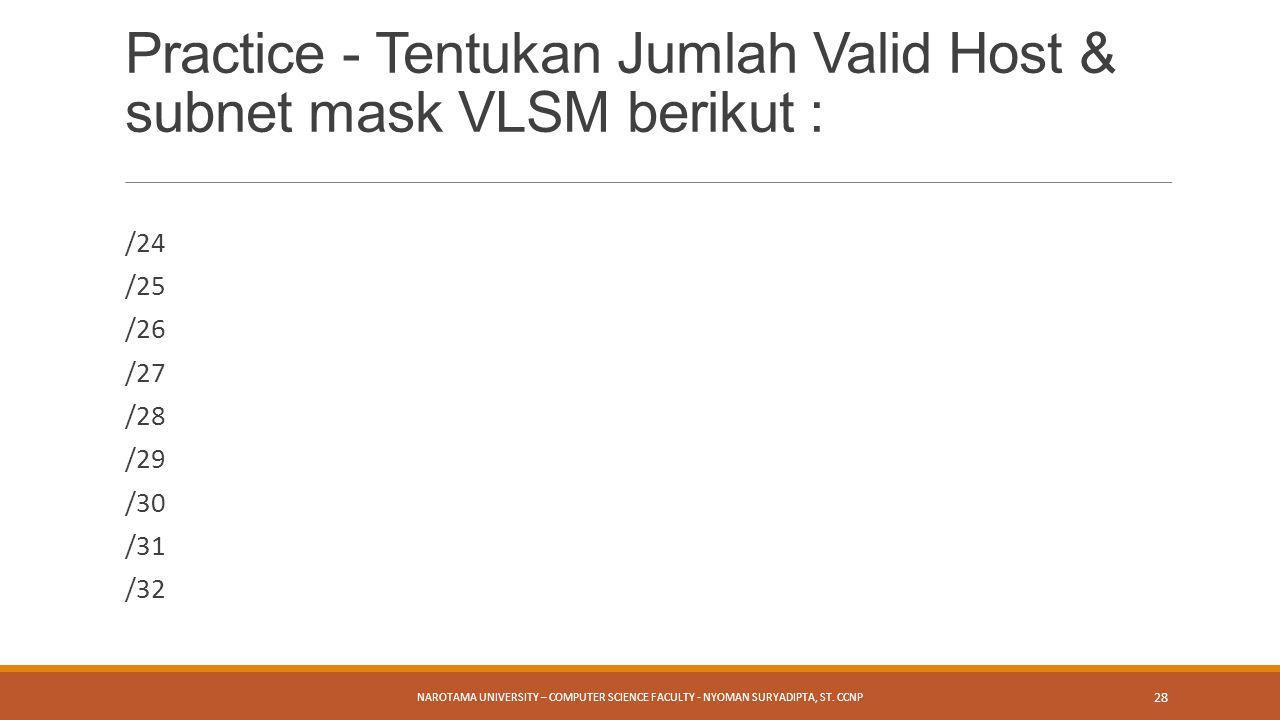 Practice - Tentukan Jumlah Valid Host & subnet mask VLSM berikut :