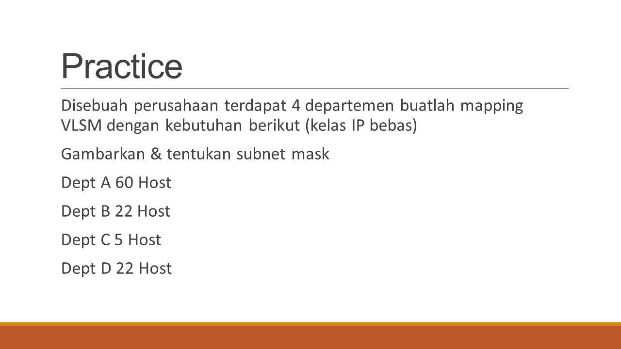 Practice Disebuah perusahaan terdapat 4 departemen buatlah mapping VLSM dengan kebutuhan berikut (kelas IP bebas)