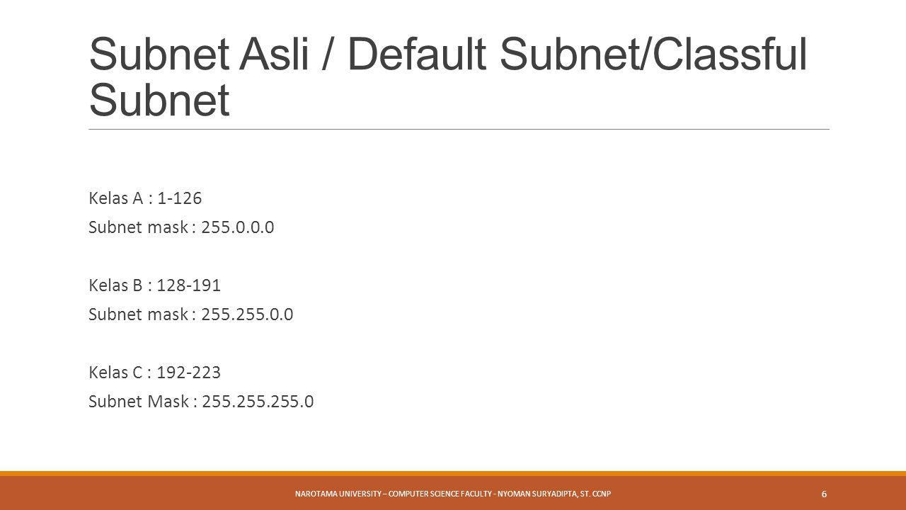 Subnet Asli / Default Subnet/Classful Subnet