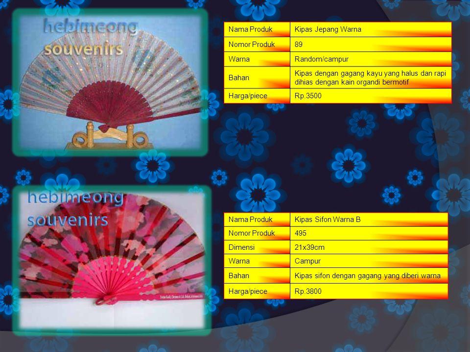 Nama Produk Kipas Jepang Warna. Nomor Produk. 89. Warna. Random/campur. Bahan.