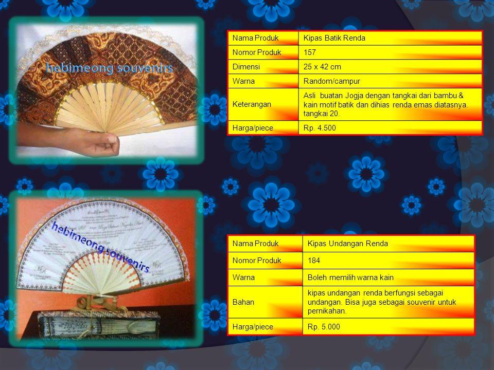 Nama Produk Kipas Batik Renda. Nomor Produk. 157. Dimensi. 25 x 42 cm. Warna. Random/campur. Keterangan.