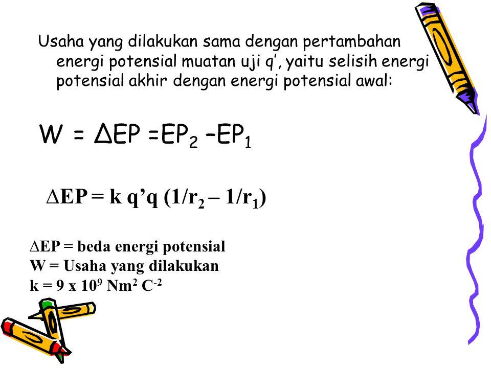 W = ∆EP =EP2 –EP1 ∆EP = k q'q (1/r2 – 1/r1)