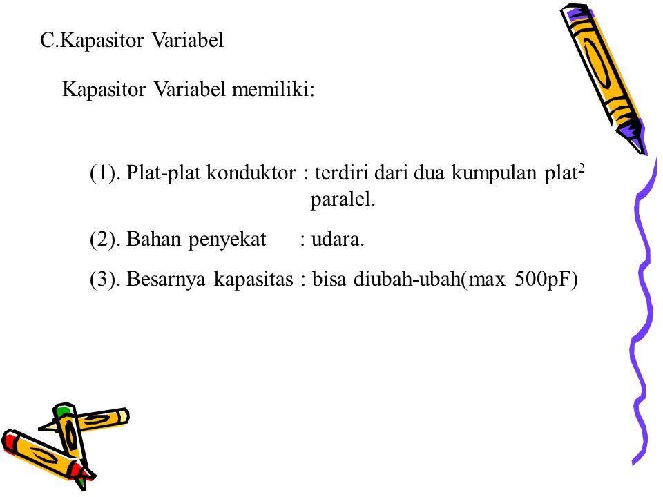 C.Kapasitor Variabel Kapasitor Variabel memiliki: (1). Plat-plat konduktor : terdiri dari dua kumpulan plat2 paralel.