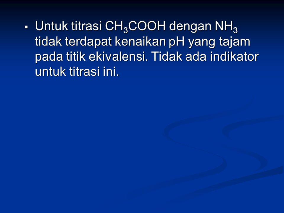Untuk titrasi CH3COOH dengan NH3 tidak terdapat kenaikan pH yang tajam pada titik ekivalensi.