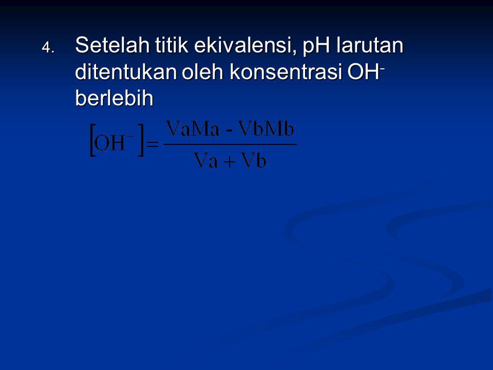 Setelah titik ekivalensi, pH larutan ditentukan oleh konsentrasi OH- berlebih
