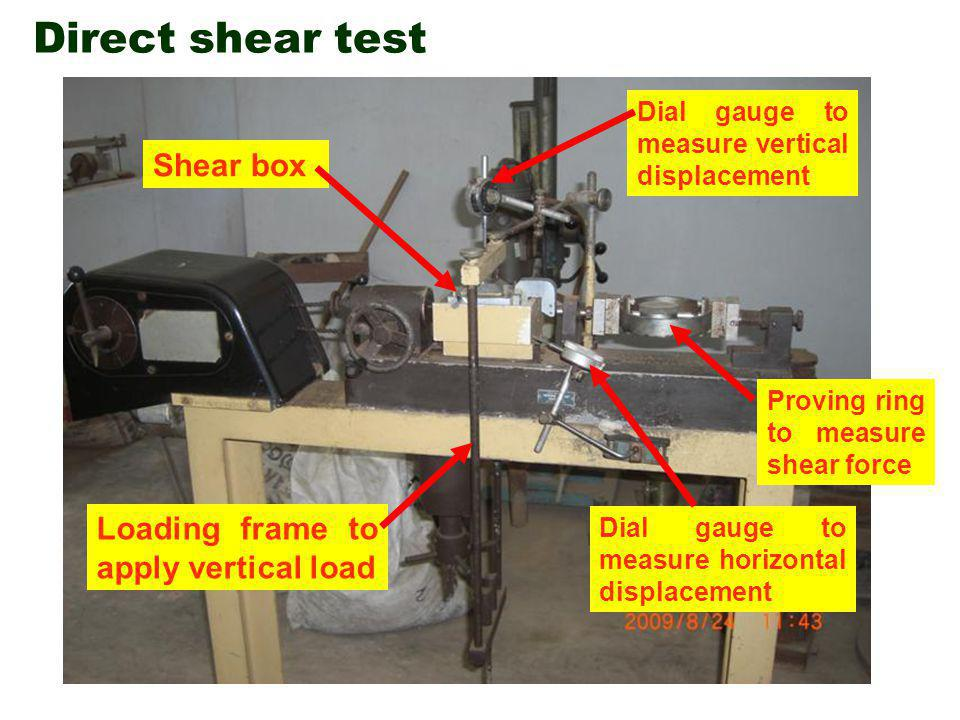 Direct shear test Shear box Loading frame to apply vertical load