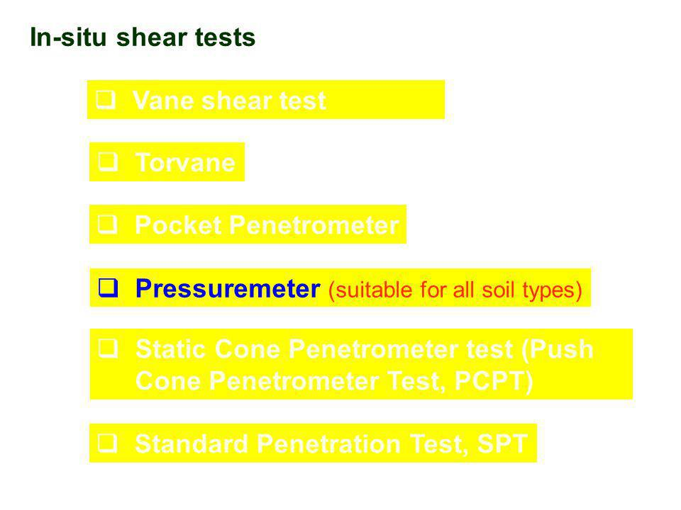In-situ shear tests Vane shear test. Torvane. Pocket Penetrometer. Pressuremeter (suitable for all soil types)