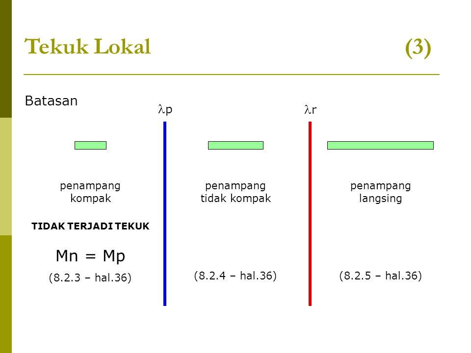 Tekuk Lokal (3) Mn = Mp Batasan p r penampang kompak penampang