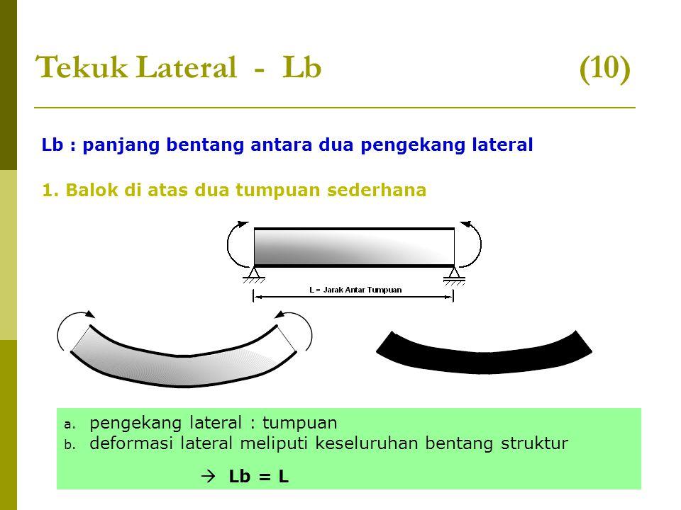 Tekuk Lateral - Lb (10) Lb : panjang bentang antara dua pengekang lateral.