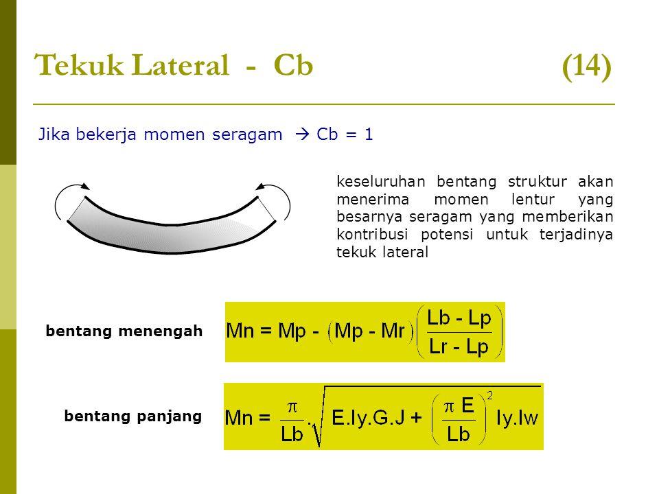 Tekuk Lateral - Cb (14) Jika bekerja momen seragam  Cb = 1